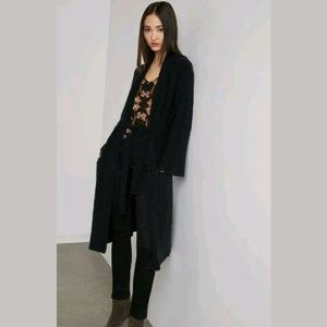 INC Cotton Chunky Ribbed Long Duster Belt Cardigan